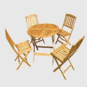 Baštenski drveni set – sto i 4 stolice