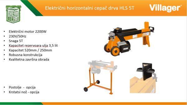 Električni horizontalni cepač drva Villager HLS 5t
